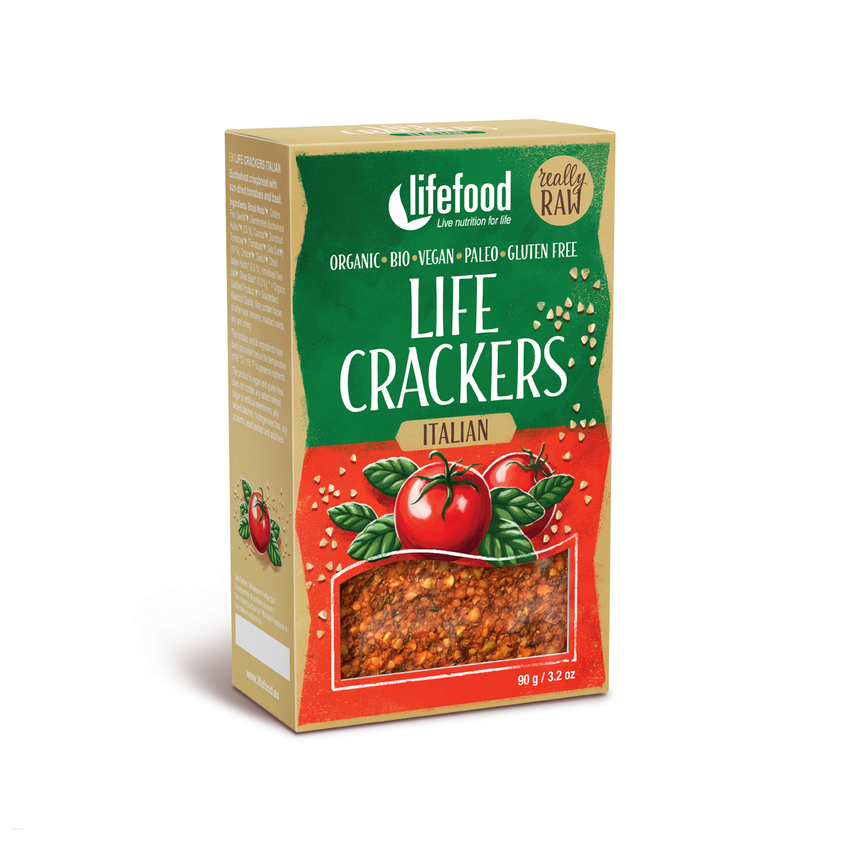 LIFE CRACKERS Italské BIO RAW 90g LIFEFOOD