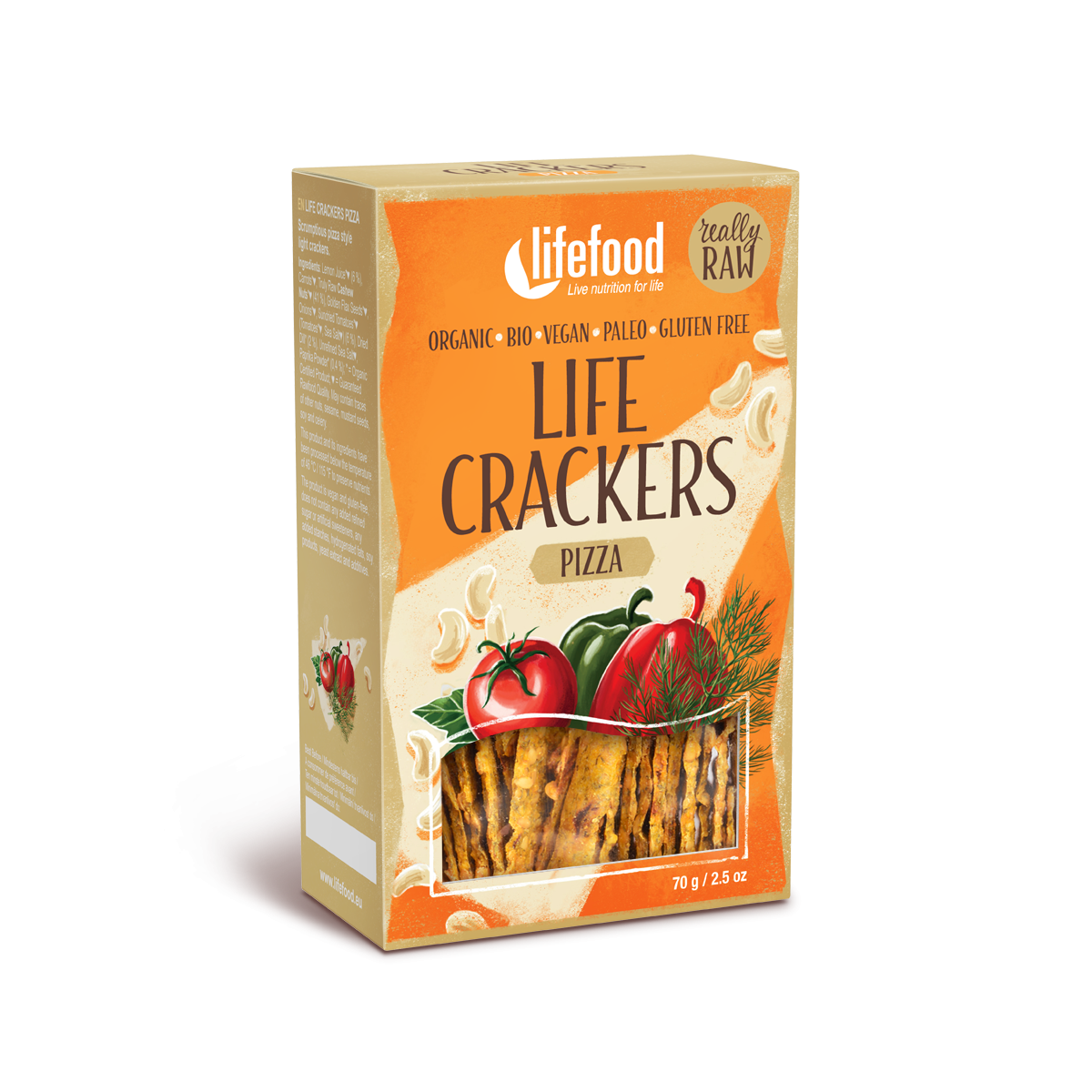 LIFE CRACKERS à la pizza BIO RAW 70 g LIFEFOOD