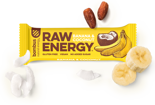 Tyčinka Bombus Raw energy, banana&coconut